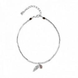 Collar Unode50 DESPLUMADO 40cm. cristal Swarovski metal bañado plata pluma piedra rosa