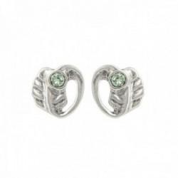Pendientes Unode50 HOJAS 14mm. cristal Swarovski color verde forma hoja metal bañados plata