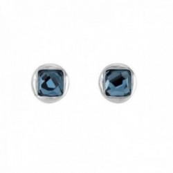 Pendientes Unode50 LA JOJOYA 11mm. cristal Swarovski azul Stud metal bañados plata circulares