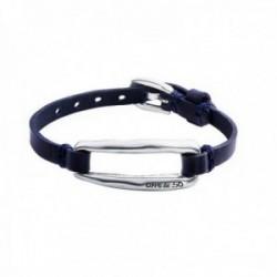 Pulsera Unode50 AMÁRRAME 18cm. cuero color azul marino hebilla rectangular centro metal bañado plata