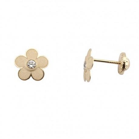 Pendientes oro 18K tornillo flor con circonita 7mm. [5260]