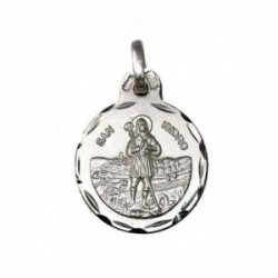 Medalla plata Ley 925m San Isidro 15mm. labrada cerco tallado