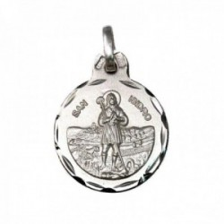 Medalla plata Ley 925m San Isidro 17mm. labrada cerco tallado