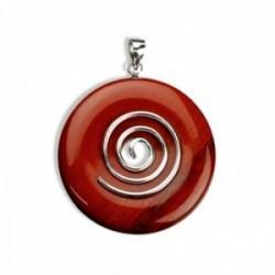 Colgante plata Ley 925m espiral círculo vida 40mm. jaspe rojo natural amuleto suerte mujer