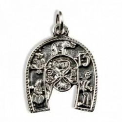 Colgante plata Ley 925m. herradura 17mm. amuleto suerte trébol elefante trece búho unisex
