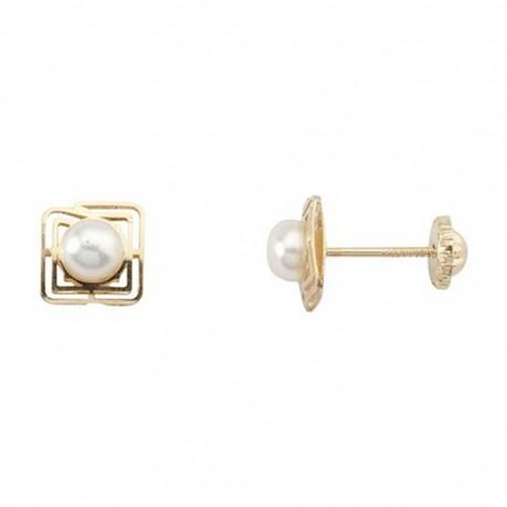 Pendientes oro 18K tornillo cuadrado perla cultivada 4,5mm. [5273]
