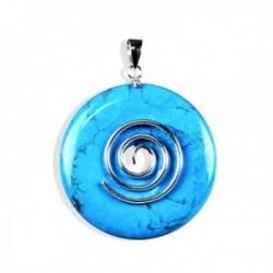Colgante plata Ley 925m. círculo vida 40mm. turquesa natural amuleto suerte mujer
