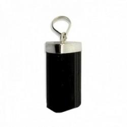 Colgante plata Ley 925m. turmalina negra natural bruta 18mm. chorlo amuleto suerte unisex