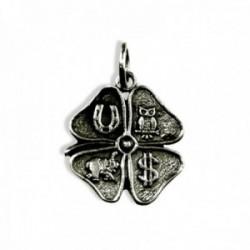Colgante plata Ley 925m. trébol 4 hojas 18mm. amuleto suerte unisex