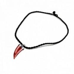 Colgante plata Ley 925m. Cuerno Abundancia 25mm. coral manzana natural cordón 48cm. trenzado amuleto