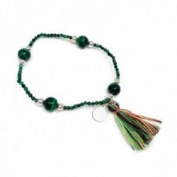 Pulsera plata Ley 925m. elástica bolas malaquita verde natural pompón colores mujer