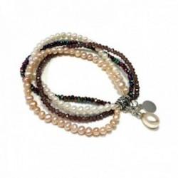 Pulsera plata Ley 925m. elástica perlas cultivadas barrocas piedras finas naturales color charm perla mujer