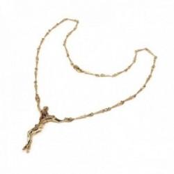 Colgante crucifijo oro 18k macizo Cristo Dalí 45mm. cadena clavos 49cm. cierre mosquetón