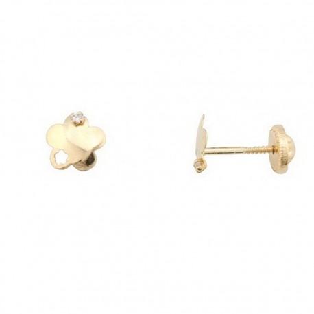 Pendientes oro 18K tornillo flor 6 mm. pétalo calado [5279]