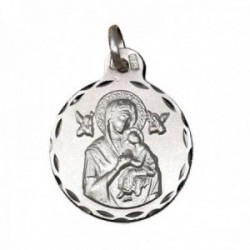 Medalla plata Ley 925m Virgen Perpetuo Socorro 21mm. cerco tallado