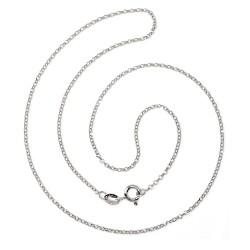 Cadena plata Ley 925m rodiada lisa 50cm. rolo diamantada cierre reasa