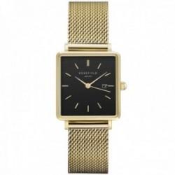 Reloj Rosefield mujer QBMG-Q06 The Boxy Black Mesh Gold cuadrado correa malla milanesa
