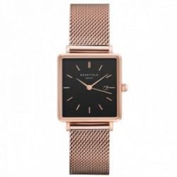Reloj Rosefield mujer QBMR-Q05 The Boxy Black Mesh rosegold cuadrado correa malla milanesa