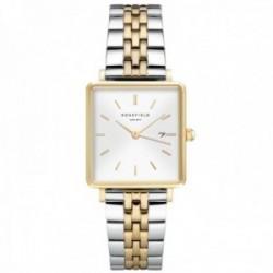 Reloj Rosefield mujer QVSGD-Q013 The Boxy White Sunray Silver Gold Duo cuadrado