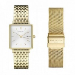 Reloj Rosefield mujer QWGTG-X223 The Boxy White Gold Mesh Gold Strap Set
