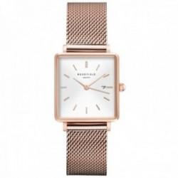 Reloj Rosefield mujer QWSR-Q01 The Boxy White Sunray Mesh Rosegold cuadrado