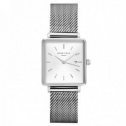 Reloj Rosefield mujer QWSS-Q02 The Boxy White Sunray Mesh Silver cuadrado