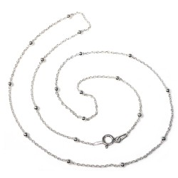 Cadena plata Ley 925m combinada 45cm. bolas cierre reasa mujer