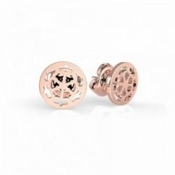 Pendientes Guess Peony Art UBE29077 acero inoxidable calado chapados oro rosa cierre presión