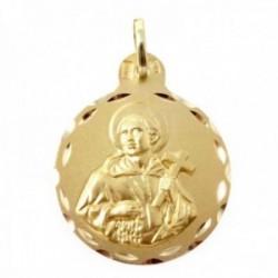 Medalla oro 18k San Álvaro 21mm. redonda cerco detalles tallados trasera lisa