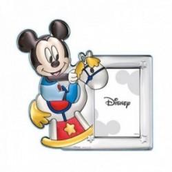 Marco portafotos plata Ley 925m Disney foto 10x15cm. Mickey vintage caballito celeste