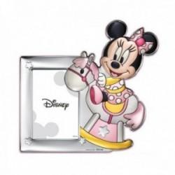 Marco portafotos plata Ley 925m Disney foto 10x15cm. Minnie vintage caballito rosa