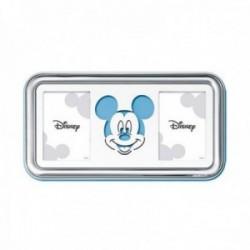 Marco portafotos plata Ley 925m Disney 2 fotos 8x5,5cm. Mickey láser celeste