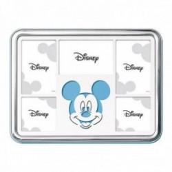 Marco portafotos plata Ley 925m Disney 5 fotos 25x18cm. Mickey láser celeste