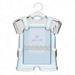 Marco portafotos plata Ley 925m bebé foto 9x13cm. traje percha celeste