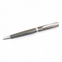 Bolígrafo Pierre Cardin 14cm. capuchón giratorio color plomo detalles plateados rugoso