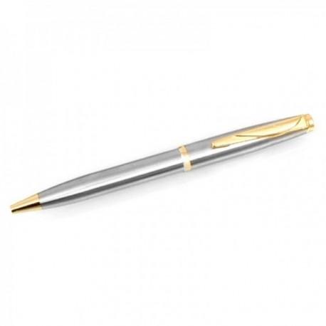 Bolígrafo Pierre Cardin 14cm. capuchón giratorio color plateado matizado detalles dorados