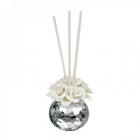 Ambientador plata Ley 925m Beltrami mikado resina porcelana flor blanca laminada