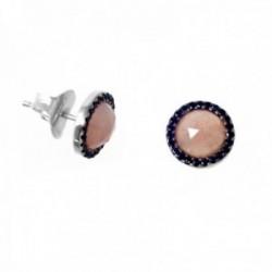 Pendientes Lineargent plata Ley 925m rodiados 10mm. piedra natural redondos cierre presión