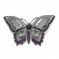 Broche Lineargent plata Ley 925m bañado rutenio mariposa 77mm. caladas amatista circonitas