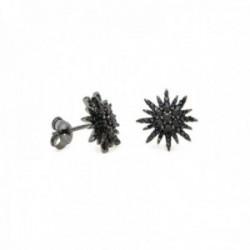 Pendientes Lineargent plata Ley 925m baño rutenio forma sol circonitas negras cierre presión