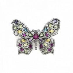 Broche Lineargent plata Ley 925m baño rutenio mariposa cuarzos adamantinos multicolor circonitas
