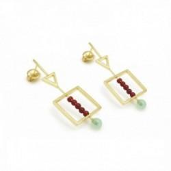 Pendientes Lineargent plata Ley 925m baño oro formas triángulo cuadrado cuarzo diamantino rojo verde