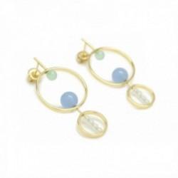 Pendientes Lineargent plata Ley 925m baño oro cículos cuarzos diamantinos tonos pastel movibles