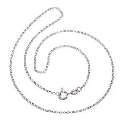 Cadena plata Ley 925m rodiada lisa 40cm. rolo diamantada cierre reasa
