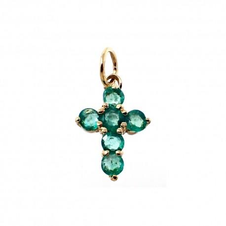 Colgante cruz oro 18k esmeraldas [6033]