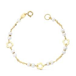 Pulsera oro 18k 14cm. perlas cultivadas 3.5mm. niña cierre reasa