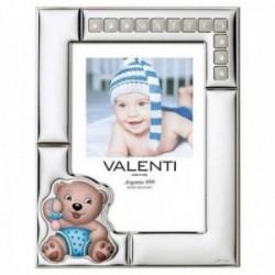 Marco portafotos plata Ley 925m nombre personalizable osito chupete azul foto 13x18 blanco