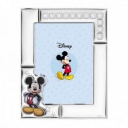 Marco portafotos plata Ley 925m Disney Mickey nombre personalizable foto 13x18cm. blanco estrellas