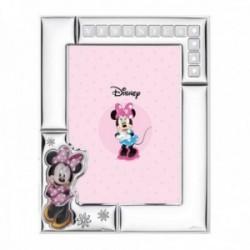 Marco portafotos plata Ley 925m Disney Minnie nombre personalizable foto 13x18cm. blanco flores