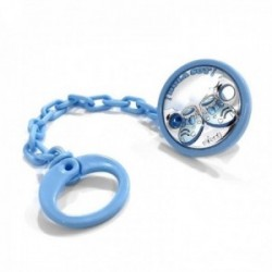 Pinza chupete bebé plata Ley 925m bilaminada 40mm. patucos azul cadena 17cm.
